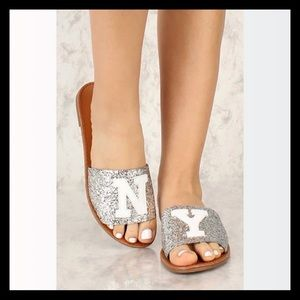 Silver Wording Patch Slip On Glitter Sandals NY!